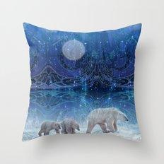 Arctic Journey of Polar Bears Throw Pillow