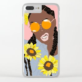 Believe in Yo Juice - Digital Black Goddess Vector Drawing Clear iPhone Case