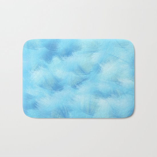 Heavenly Blue Feathers and Fluff Abstract Bath Mat