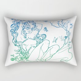 The Masked Fairy - greenish blue version - A masked fairy girl surrounded by butterflies and roses Rectangular Pillow