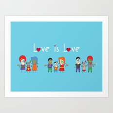 Love is Love Blue - We Are All Equal Art Print