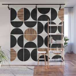 Mid-Century Modern Pattern No.1 - Concrete and Wood Wall Mural