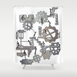 Steampunk mechanical working concept Shower Curtain