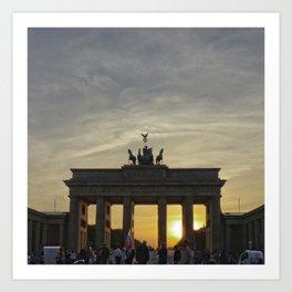 Sunset at the Brandenburg Gate, Berlin Art Print
