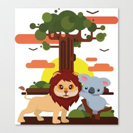 Leo lion & Koalina Canvas Print