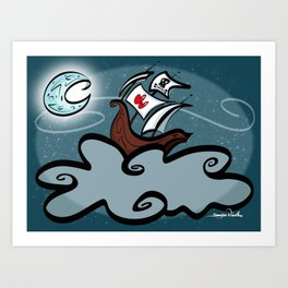 Beware of Flying Pirate Ships Art Print
