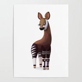 Lovely okapi. Vector graphic character Poster