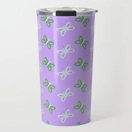 Modern artistic violet green butterfly illustration pattern Travel Mug
