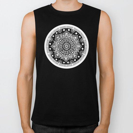 Black and White Mandala  Biker Tank