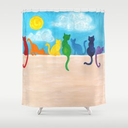 Rainbow Cats on a Wall Shower Curtain