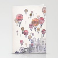 santa monica Stationery Cards featuring Voyages Over Santa Monica by David Fleck