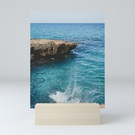 Splash Beautiful Blue Azure Water   Rock in Sea with Pretty Water   Lemon & Peach Nature Photography Mini Art Print