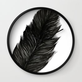 Psalm 91:4 Black Feather Wall Clock