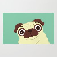 pug Area & Throw Rugs featuring Pug by Hoborobo