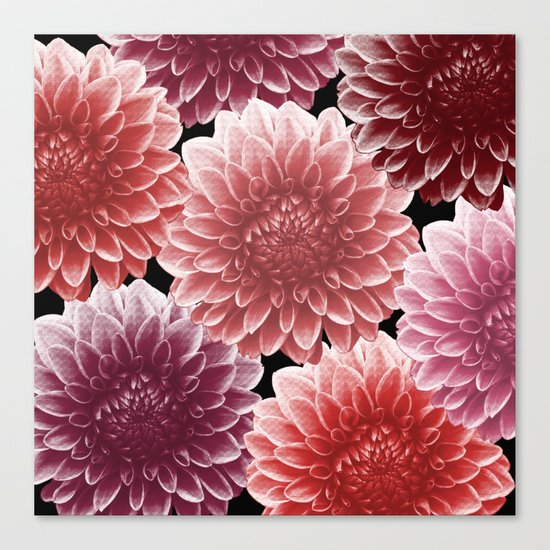 DAHLIAS (flowers abstract pattern) Canvas Print