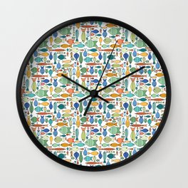 Retro Fish White Wall Clock