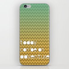 Today Can Be An Adventure Poster Teal Yellow Chevron iPhone & iPod Skin