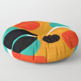 Mid Century Modern Abstract Minimalist Retro Vintage Style Rolie Polie Olie Bubbles Teal Orange Floor Pillow