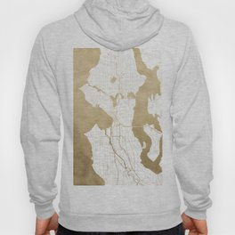 Seattle White and Gold Map Hoody