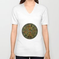 calendar V-neck T-shirts featuring Ancient Calendar by Klara Acel