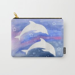 Dolphin Silhouette with watercolor background Carry-All Pouch