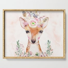Forest Fawn Floral Pink by Nature Magick Serving Tray