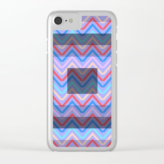 Chevron in shades of blue Clear iPhone Case