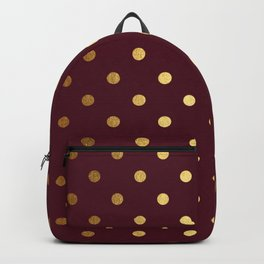 Maroon Gold Polka Dots Backpack