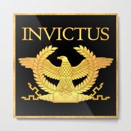 Invictus Eagle on Black Metal Print