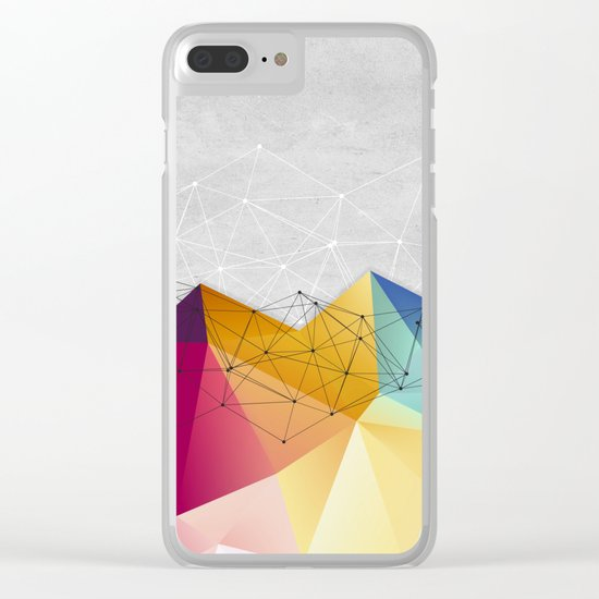 Polygons on Concrete Clear iPhone Case