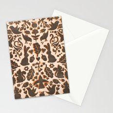 Two Rabbits - folk art pattern in tan, brown, cream & orange Stationery Cards