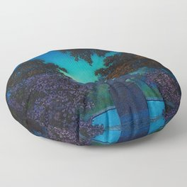Blue Fountain at Twilight by Maxfield Parrish Floor Pillow