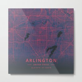 Arlington, United States - Neon Metal Print