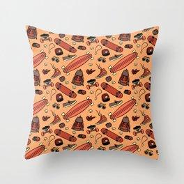 Skate life pattern orange Throw Pillow