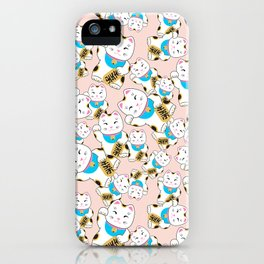 Maneki-neko good luck cat pattern iPhone Case