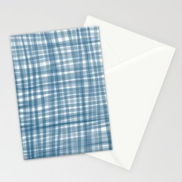 Baby blue watercolor gingham Stationery Cards