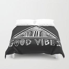 Feel Good Vibes Black White mindset 2 Duvet Cover
