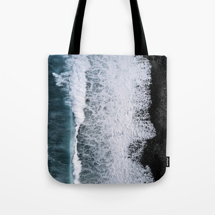 Aerial of a Black Sand Beach with Waves - Oceanscape Tote Bag