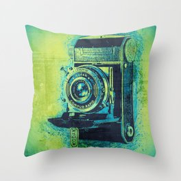 Green Retro Vintage Kodak Camera Throw Pillow