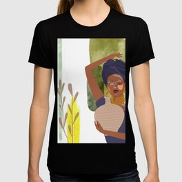 Set of abstract vertical illustrations with african woman in turban, ceramic vase and jugs, plants,  T-shirt