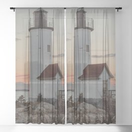 Sundown at the Annisquam Lighthouse Sheer Curtain