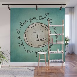 I Love You To The Moon And Back (blue) Wall Mural
