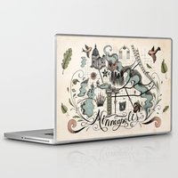minneapolis Laptop & iPad Skins featuring Minneapolis Map by Jared Tuttle