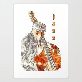 Jazz Bassist Art Print