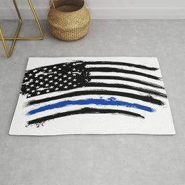 Thin blue line US flag. Flag with Police Blue Line - Distressed american flag.  Rug