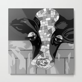 Gray Patchwork Cow Metal Print