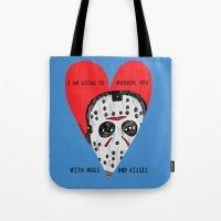 dramatical murder Tote Bags featuring Murder Love by JARHUMOR