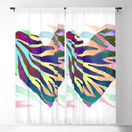 Rainbow Zebra Print Heart! Blackout Curtain