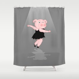 Pig Ballerina Shower Curtain