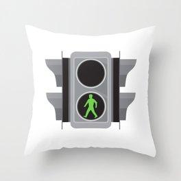 Traffic Light Man Walking Retro Throw Pillow